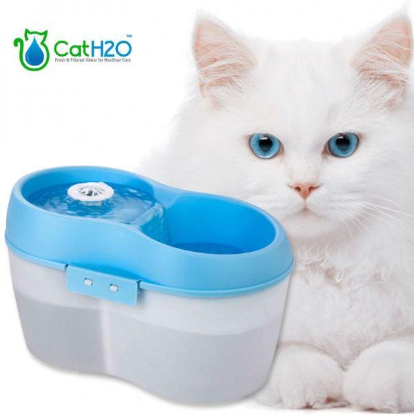 Katzenbrunnen Cat H2O weiß-blau