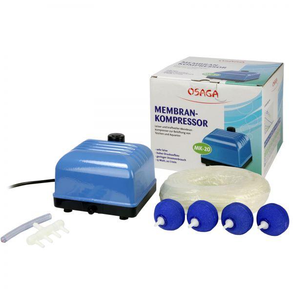 OSAGA MK 20 Set ist ein Teichbelüfter Set mit Membrankompressor MK 20, 25m Luftschlauch 4/6mm, 4 Belüfterkugeln Ø 50