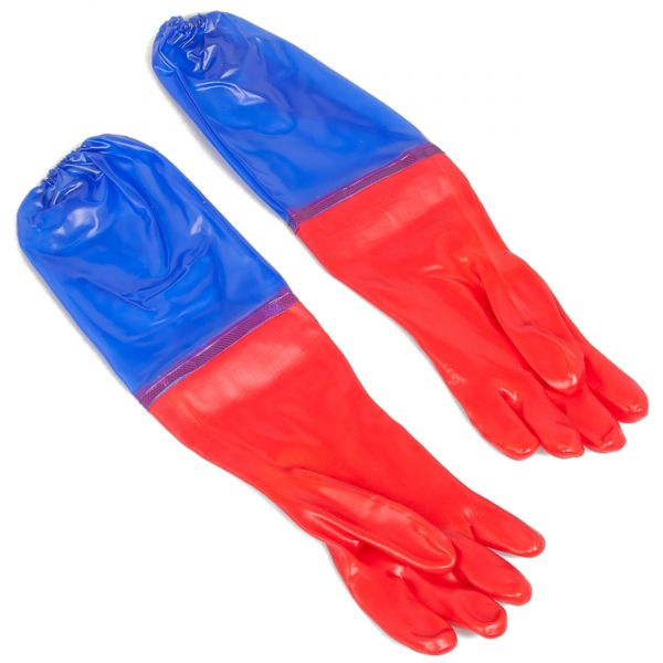 Gartenteich Handschuhe im Einsatz
