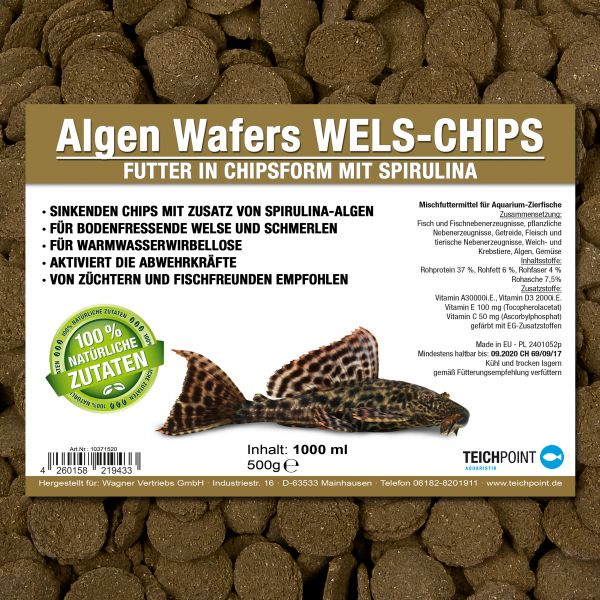 Algen Wafers WELS CHIPS - Welsfutter mit Spirulina
