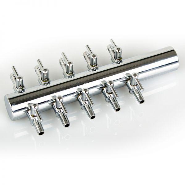 10-fach Verteiler Chrom mit Hahn 4 mm